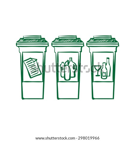 doodle Recycle bins, garbage separation. - stock photo