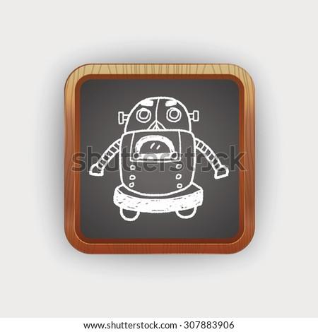 Doodle Robot - stock photo