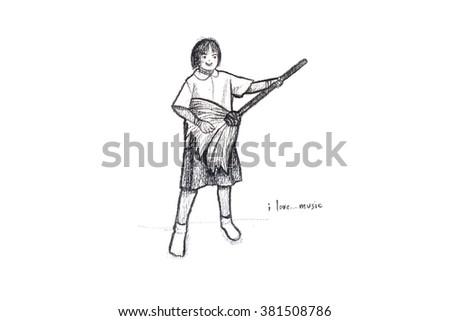 doodle schoolgirl hand drawn doodle style - stock photo
