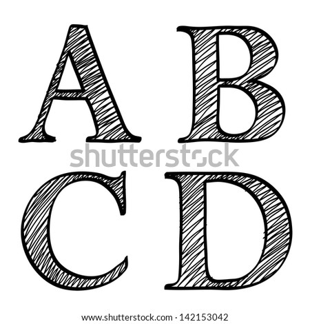 Doodle scribble sketch alphabet letters A,B, C, D with solid outline and pen fill squiggle centers, upper case isolated on white - stock photo