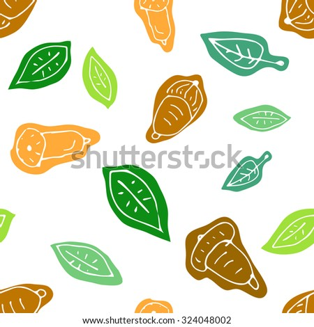 Doodle seamless autumn pattern with acorn and leaves. Late autumn seasonal forest background. Raster version - stock photo