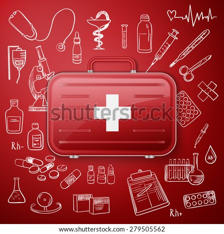 doodle seamless illustration Medicine icons with medicine chest - stock photo
