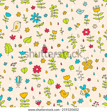 Doodle seamless nature pattern. Ideal for: scrapbooking, wrapping paper, children's textiles, wallpaper, websites, blogs, cards and much more - stock photo