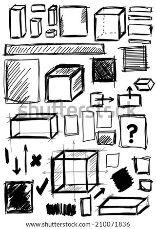 Doodle, set hand drawn shapes square, cube - stock photo