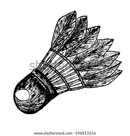 doodle Shuttle Cock   - stock photo