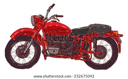 Doodle sketch red vintage motorcycle on a white background.  - stock photo