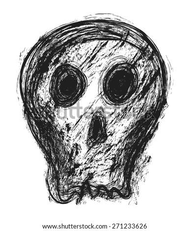 doodle skull, design element - stock photo