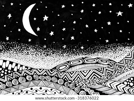 Doodle style landscape night with moon and stars in the sky - stock photo