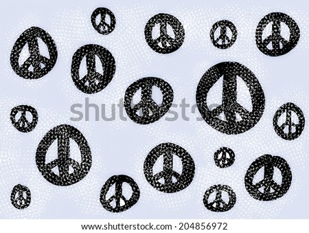 doodle symbol of peace background, pattern and texture - stock photo