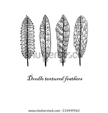Doodle textured feathers background. Raster. - stock photo
