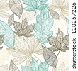 Doodle textured leaves seamless pattern. Raster. - stock photo