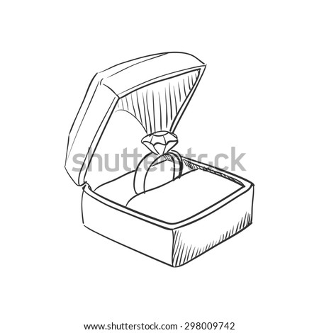 doodle wedding ring with diamond icon, hand drawn style - stock photo