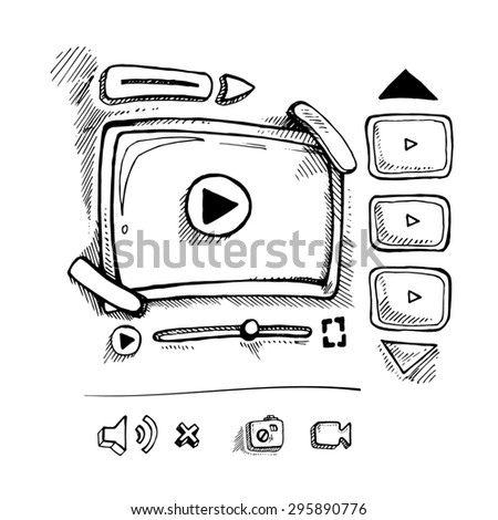 doodle wireframe of video player. Web page template. - stock photo
