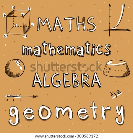 Doodle Word Math Algebra Mathematics Geometry Stock Illustration ...