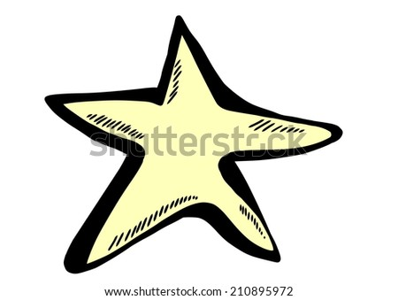 doodle yellow star - stock photo