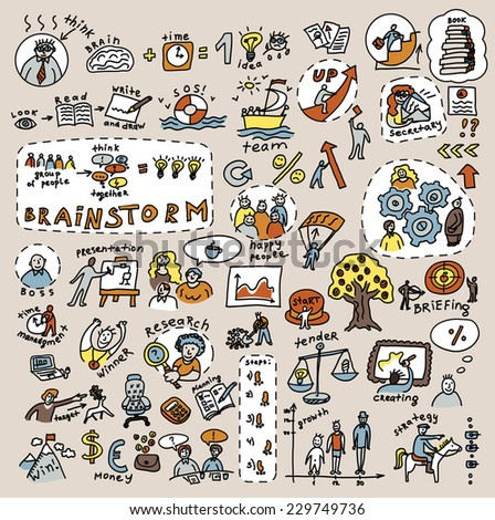 Doodles creative and business color icons Big collection of icons and symballs with hand-drawn doodles people and objects. Good design elements for funny presentation. Color raster illustration.  - stock photo