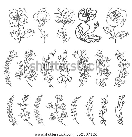 Doodles flowers and branches in pastel colors.Hand drawing decor elements.Isolated on white for greeting cards, Easter,birthday,wedding invitation ,pattern,scrapbooking.Retro  illustration