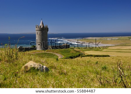 Doonagore castle in summer day light - stock photo