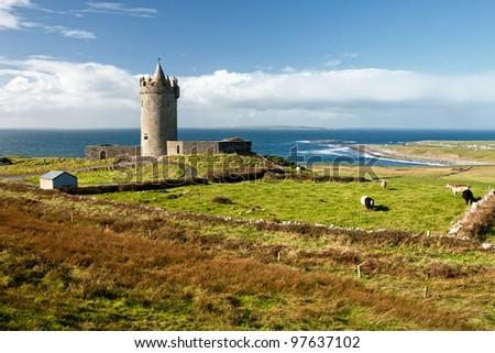 Doonagore Castle in the beautiful scenery -  Ireland. - stock photo