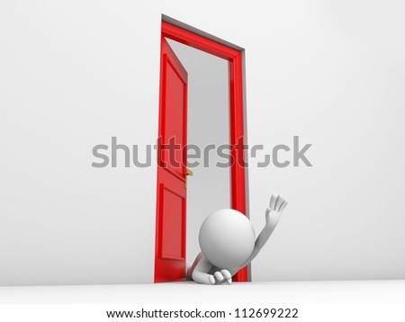 Door/A person climb from a door for help - stock photo