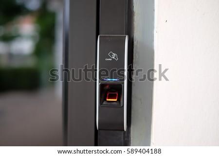 Door access control by Fingerprint Scanner and Key Card Security Access Concept. & Door Access Control By Fingerprint Scanner Stock Photo 589404188 ...