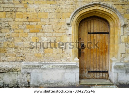 Door and wall in Oxford - stock photo
