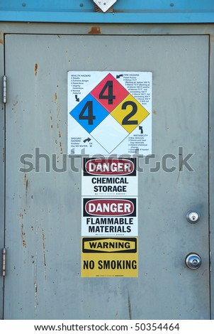 Door at the Basin Chemical and Fertilizer plant in Klamath Falls Oregon - stock photo