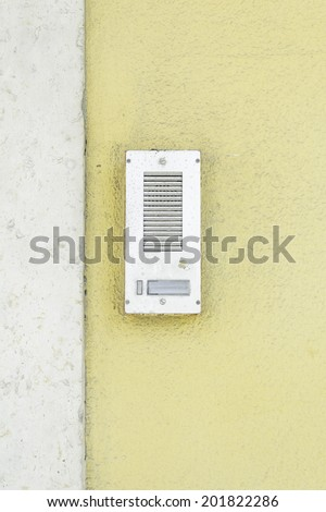 Door bell with silver buttons, input - stock photo