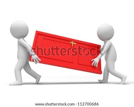 Door/Cooperation/Two people carry a door - stock photo