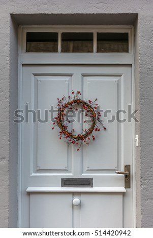 Door decorated for Christmas