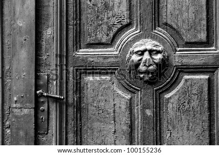 door decoration close-up, black and white image