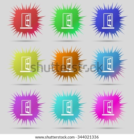 Door, Enter or exit icon sign. Nine original needle buttons. illustration. Raster version - stock photo