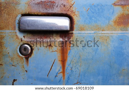Door handle of old car - stock photo