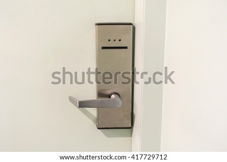 Door handle with keycard security.