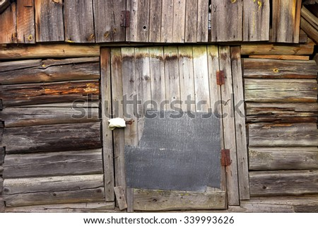 door in a wooden shed in the countryside in summer