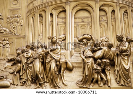 door in Duomo Cathedral - Florence, Italy - stock photo