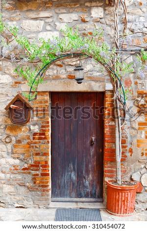 Door in Italian House Decorated with Tree - stock photo