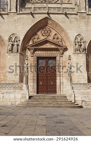 Door in the gothic cathedral of Burgos, Castile and Leon, Spain.