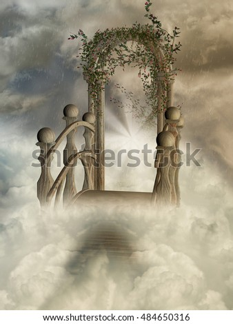 door in the heaven with rain and flowers