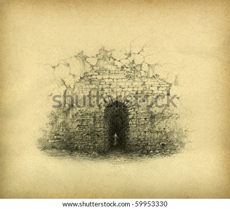 Door in the wall. Pencil on paper. - stock photo