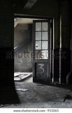 door inside mine - stock photo