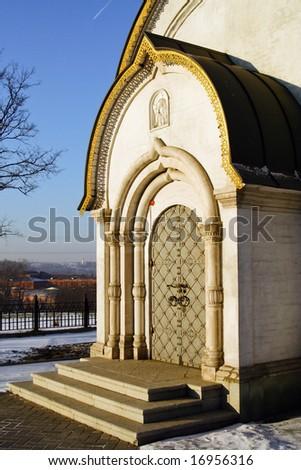 Door into orthodoxy chapel. - stock photo