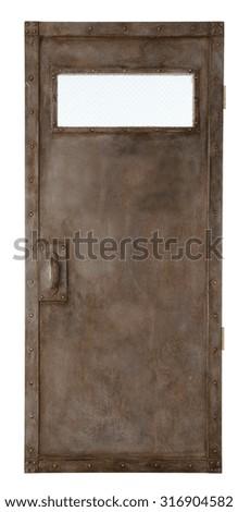 door isolated on white - stock photo