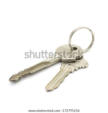 door keys on white background - stock photo