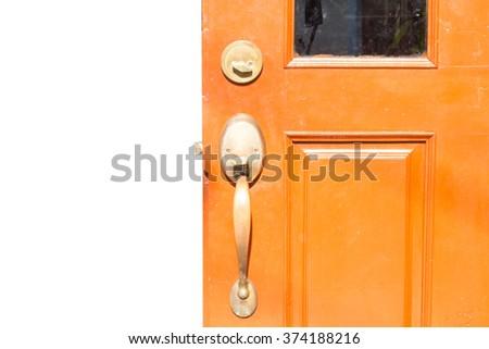 Door knob and keyhole made of  - stock photo