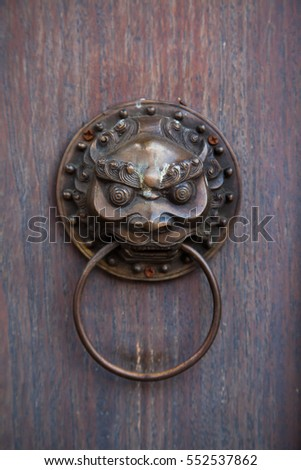 Door knob handle lion head