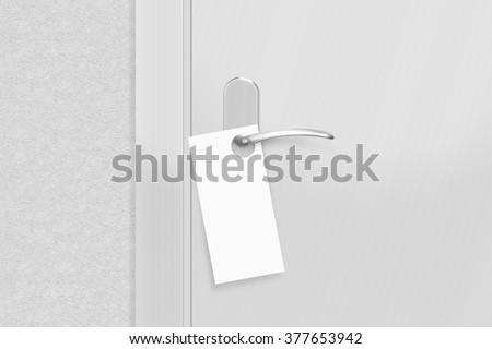 Door Knob Blank Doorhanger Mock Up Stock Photo 381515032