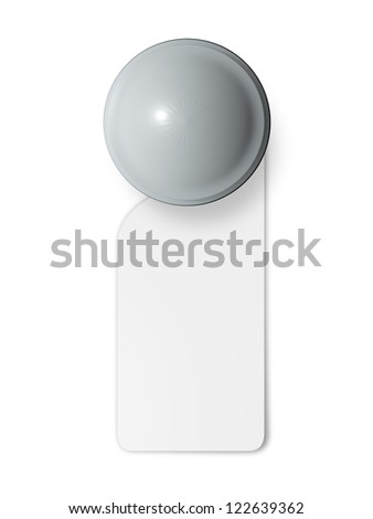 Door knob with blank label, hanging sign in hotel, isolated on white background. - stock photo