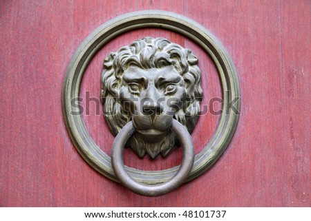 Door knocker in the form of lion head - stock photo