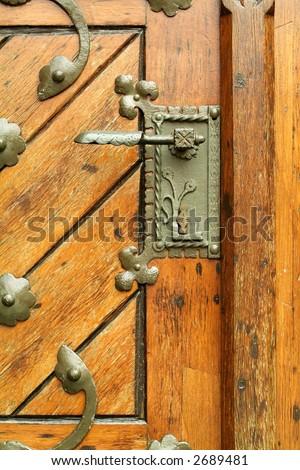 Door latch, detail of church door - stock photo